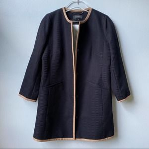 Talbots Button Front Textured Duster Coat Black